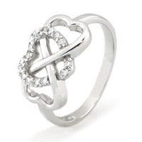 Sterling Silver Heart Infinity Ring w/ Cubic Zirconia (Size 6) Available Size: 5, 6, 7, 8