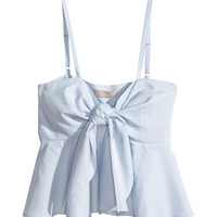 H&M - Short Ruffled Top - Light blue/striped - Ladies