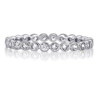 Sterling Silver Round Bezel Cubic Zirconia CZ Eternity Ring - Women&#x27;s Engagement Wedding Band Ring Size 5