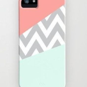 EVERMARKET(TM) Mint & Coral Chevron Hard Case Cover for Apple iPhone 5C