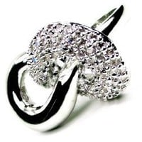 Infinity Platinum Plated Silver Color Diamond Ring, Size 9 (m1)
