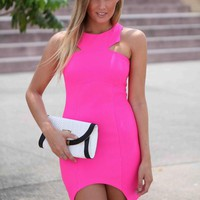Hot Pink Open Back Dress