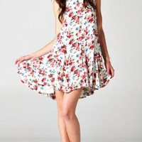 White floral pleated dress