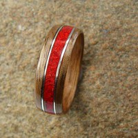 Bentwood Ring Walnut with Red Coral Inlay and Sterling Silver