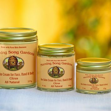Fresh Citrus Bee Balm Cream for Face Hand and Body --------- (2 oz., 4 oz., 8 oz.)