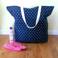 Oversized Beach Tote Bag  Denim with Stars  Mongo by MaidenJane