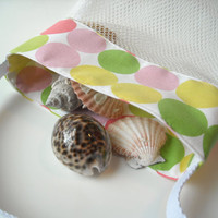Mesh Beach Bag  Polka Dot Fabric  Shell Collecting by MaidenJane