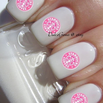 Pink Coffee Latte Starbucks Nail Decals