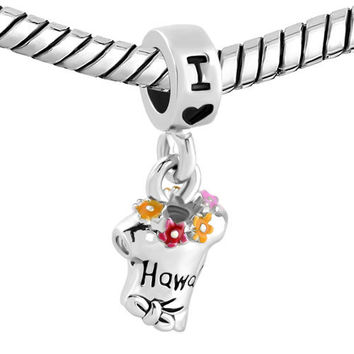 Pugster Dangle Charm Bracelet Spacer Multicolor Summer Tshirt I Love Hawaii