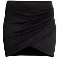H&M - Wrap-front Skirt - Black - Ladies