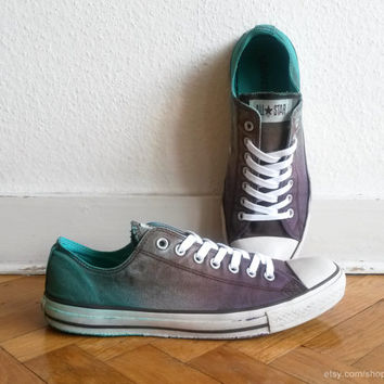 Coffee brown & jade green Converse low tops, upcycled vintage sneakers, ombre Chucks, unequal size: EU 44 and 45 (US Men's 10 and 11)