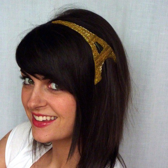 Golden Beaded Eiffel Tower Headband Best Selling by JillsBoutique