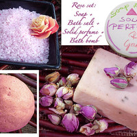Beauty Set Rose Soap Bath Salt Solid perfume Bath Bomb Free Gift Wrapping Flower Natural Rose Fast Shipping With FEDEX