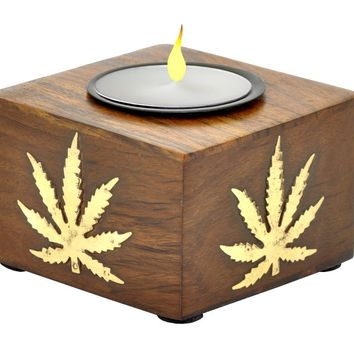 Very Unique Square, Wooden Tealight Holder with a Beautiful Hemp Compound Leaf Design in Bronze on all Four Sides Handmade in Indian Rosewood - Handmade Wood Candle Stands, Tea Light Holders, Candle Decor Gifts and Accessories from SouvNear [Small Size - 3