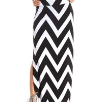 DOUBLE SLIT CHEVRON MAXI SKIRT