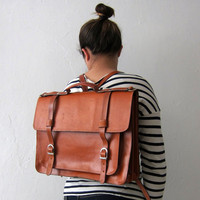 Backpack leather satchel by goldenponies on Etsy