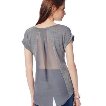 Sheer Back Pieced Hi-Lo V-Neck Top