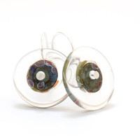 Moss Green Circle Glass Bead Earrings Handmade by susansheehan
