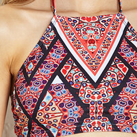 Abstract Halter Bikini Top