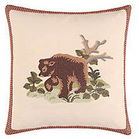 Big Sky Hooked Bear Throw Pillow