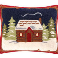 Cabin Hooked Throw Pillow