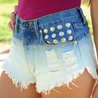 High On Life Shorts: Denim/White