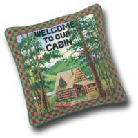 Welcome To Our Cabin Needlepoint Throw Pillow