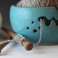 Yarn Bowl Turquoise Bridges Pottery Custom Order Seen VogueKnitting | bridgespottery - Knitting on ArtFire