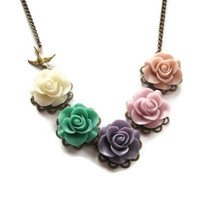 Bridesmaid Floral Necklace Muted Pastel by TheBonnyBoutique