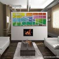 "All My Walls Abstract by Ash Carl Metal Wall Art in Multi Blocks - 23.5"" x 60"" - SWS00103 - All Wall Art - Wall Art & Coverings - Decor"