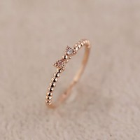 Women's Alloy Bow Tie Shape Upper Bean Loop Design Thin Ring R0522