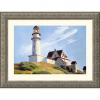 Great American Picture Lighthouse at Two Lights Silver Framed Print - Edward Hopper - 272093-Silver - All Wall Art - Wall Art & Coverings - Decor