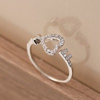 Women's Alloy Loving Heart Shape with Rhinestones Upper Key Shape with Rhinestone Upper Slap-up Open Ring R0522