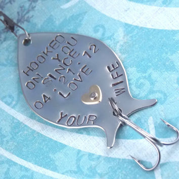 Personalized fishing lure hooked on you from for Fishing gifts for dad