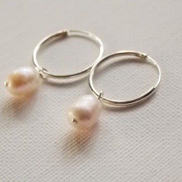 sterling silver pearl hoops endless earrings  peal hoops earrings,  bridesmaids earrings dainty hoop earrings