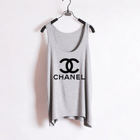 Classic Chanel  Women Tank Top  Grey  Sides by zzzAfternoon