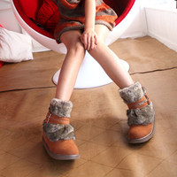 Wholesale 2011 winter frosted leather low upper cotton ankle snow boots QZ-XHy663 yellow - Lovely Fashion