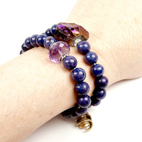 MEMORIAL DAY SALE Sale - Purple Stretch Bracelet Pair Set Amethyst Skull Peacock Titanium Nugget Friendship Bracelets