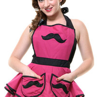 Pink Mod Mustache Betty Apron - Unique Vintage - Cocktail, Evening, Pinup Dresses