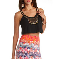 Wooden-Beaded Strappy Swing Crop Top by Charlotte Russe - Black