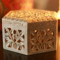 Novica White Jasmine Soapstone Jewelry Box | Jewelry| Accessories | World Market