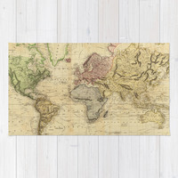 Vintage Map of The World (1831) Area & Throw Rug by BravuraMedia | Society6