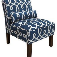 One Kings Lane - The Art of Upholstery - Bergman Armless Chair, Navy/White
