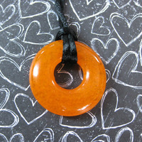 Orange Necklace, Fused Glass Jewelry, Circle - Pumpkin - 4348-1