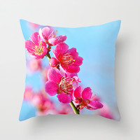 pink flowers Throw Pillow by Kristi Kaz | Society6