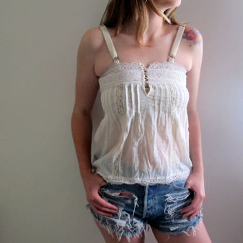 Vintage White Victorian Tank Top Boho Bohemian Lace See Through Thru 90s Shabby Chic Gypsy