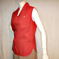 Vintage 1950s Red Blouse Sleeveless Top by BetteBeGoodVintage