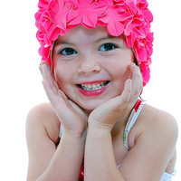 Children&#x27;s Retro Vintage 1950&#x27;s Style Fuchsia Floral Swimcap - Unique Vintage 