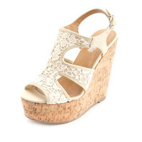 CROCHET LACE CUT-OUT PLATFORM WEDGES