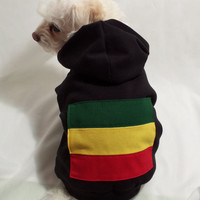 RockinDogs Ribbed Knit Rastafarian Themed Hoodie for Dogs or Cats